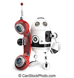 3d Robot with red phone tube. Isolated. Contains clipping path