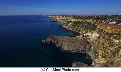 AERIAL Fantastic View Of Fiolent Cape Coastline In Crimea -...