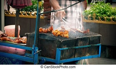 Street Vendor Cooking Meat On Grill - Man cooks meat in city...