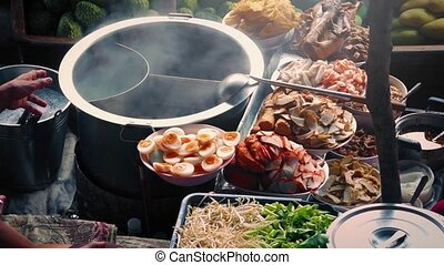 Spread Of Delicious Food On Boat - Meat, eggs and vegetables...