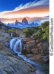 Monte Fitz Roy - Argentina - Fitz Roy view with waterfall...