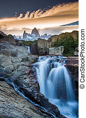 Fitz Roy view with waterfall located at Argentinian...