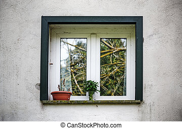 white window in a rustic wall