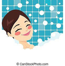 Bathing Woman Relaxing - Bathing woman relaxing in bubble...