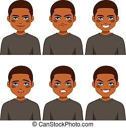 Man Avatar Expressions - Young African American man making...