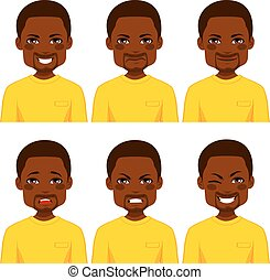 Man Avatar Expressions - Young African American man with six...