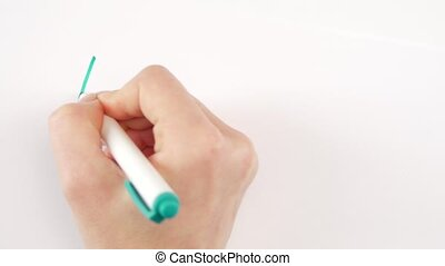 Hand of woman writing goal just dont be sad on paper - Hand...