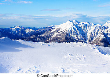Panoramic view of mountain top with peaks on back