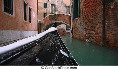 gondola floating through Venice - gondola floating on the...