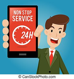 Businessman Showing All Day Service on Smartphone -...