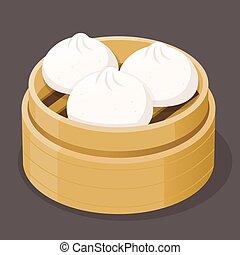 Steamed Bun Dim Sum - Steamed pork bun dim sum on a bamboo...