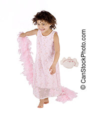 Cute kid with feather boa - Afro american girl with a pink...