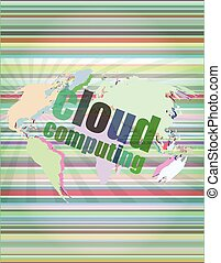 cloud computing word on touch screen, modern virtual technology background vector illustration