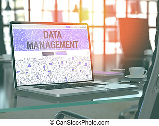 Data Management Concept on Laptop Screen - Data Management...