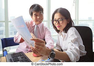 年輕, 婦女, 生活方式, 工作, 辦公室, 人們, 場景, 事務, 桌子, 會議, 人
