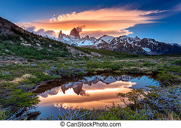Fitz Roy view with reflection in pond, located at...