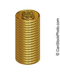 Column of golden dollar coins