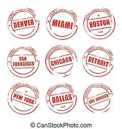 Red vector grunge stamp, American Cities Denver, Miami,...