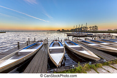 Small rental boats in a marina in summer