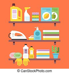 Household goods, household products on shelves. Washing,...