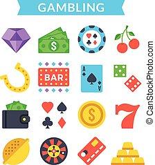 Gambling icons set. Vector icons - Gambling icons set....