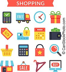 Shopping icons set. Ecommerce