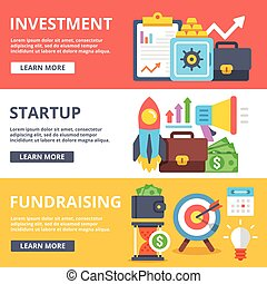 Investment, startup, fundraising flat illustration concepts...