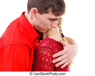 Couple Woman is sad and being consoled by his partner -...