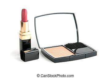 facepowder and lipstick white isolared