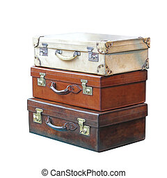 Vintage Luggage - Vitage Leather Suitcases Isolated Included...