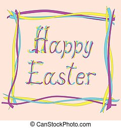 easter card with creative text - Hand drawn creative colored...