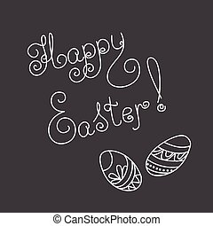 easter card with caligraphic text - Hand drawn decorated...