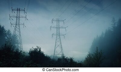 Power Lines In Forest In A Storm - Power pylons going...
