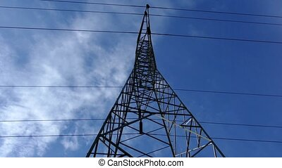 Rotating Around Power Lines - Rotating shot looking up at...