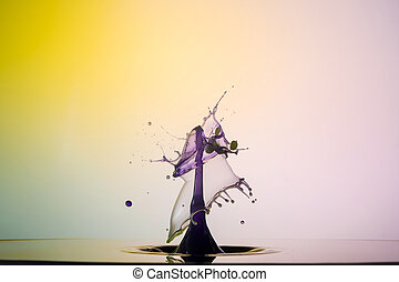 Sculpture of Liquid - water drop collision on a background...