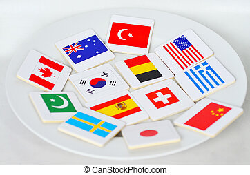 International flags of the world on a white pate -...