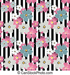 Seamless flowers pattern with stripes background