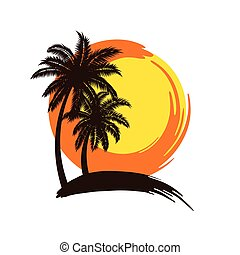 Palm trees sunset - Tropical palm trees silhouettes with...