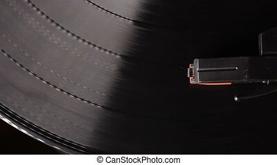 vintage vinyl record on record player turntable - Close up...