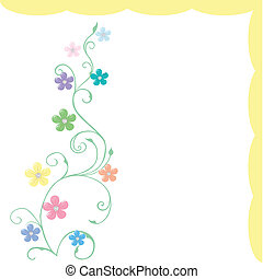 Spring greeting card with delicate flowers in pastel tones
