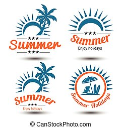 Summer label - Summer holidays design elements set Retro and...