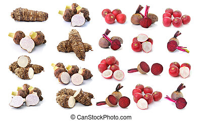 taro root and Beetroot and radishes on white background