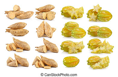 Sweet potato and star apple on white background