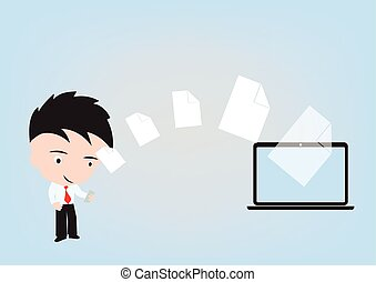 Business man send document to PC