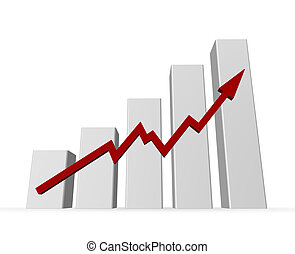 statistics - business graph on white background - 3d...