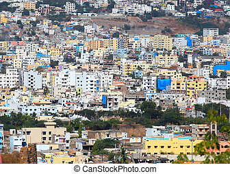 Hyderabad aeril view - Hyderabad, INDIA - December 16 :...