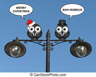 Two Sides of Christmas - Comical birds with the two sides of...