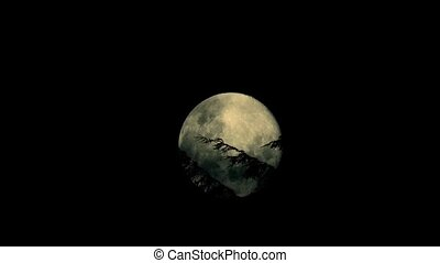 Moon Rises Behind Trees In Wind - Full moon moving behind...