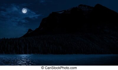 Mountains And Lake With Full Moon - Wilderness landscape...