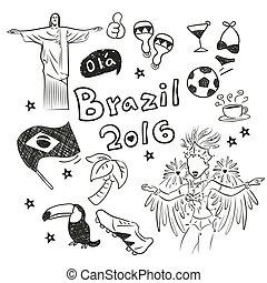 hand doodle Brazil element